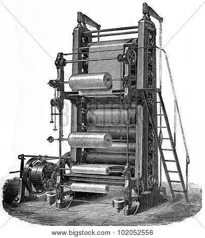 Ten calender rolls, vintage engraved illustration. Industrial encyclopedia E.-O. Lami - 1875.
