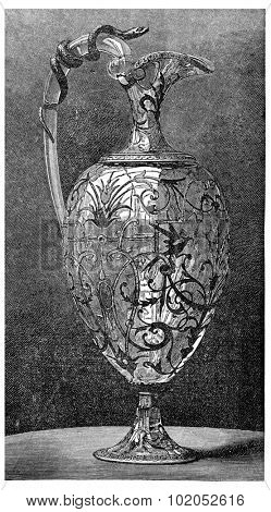 Rock crystal ewer, Froment Meurice, vintage engraved illustration. Industrial encyclopedia E.-O. Lami - 1875.