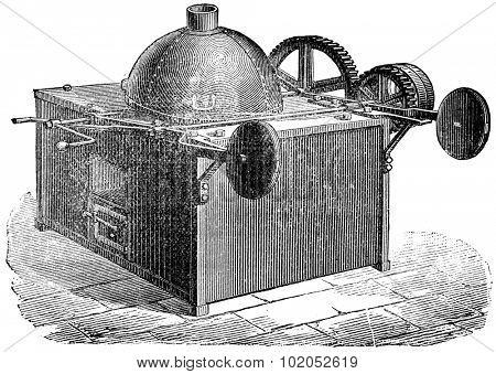 Coffee roaster ball, vintage engraved illustration. Industrial encyclopedia E.-O. Lami - 1875.