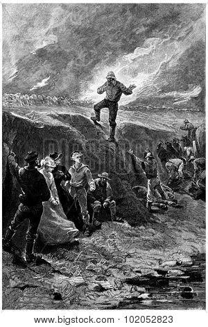 Warning cried Tom Marix, vintage engraved illustration. Jules Verne Mistress Branican, 1891.