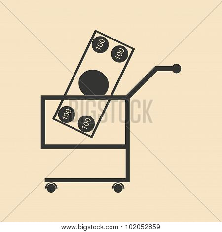 Flat black and white Banknotes in trolley