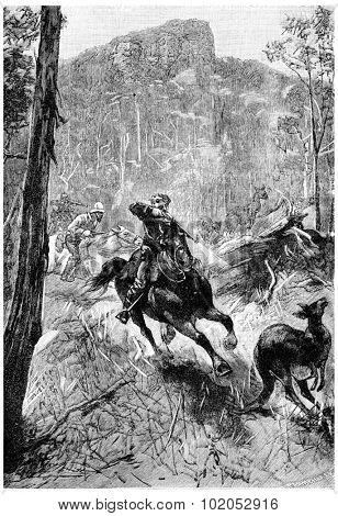 Godfrey manages to hit a ball, vintage engraved illustration. Jules Verne Mistress Branican, 1891.