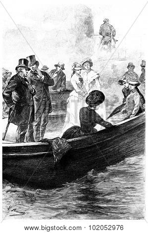 The passengers had recognized Mrs. Branican, vintage engraved illustration.