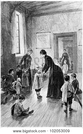 Mrs. Branican came every day to visit, vintage engraved illustration.