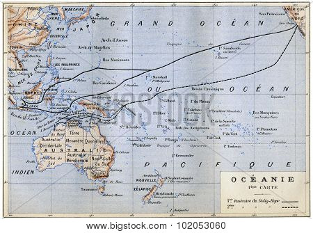 Oceania, vintage engraved illustration.