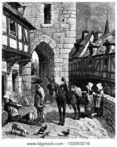 The Tour de France a small Parisian, The streets of Nantes, vintage engraved illustration. Journal des Voyage, Travel Journal, (1880-81).