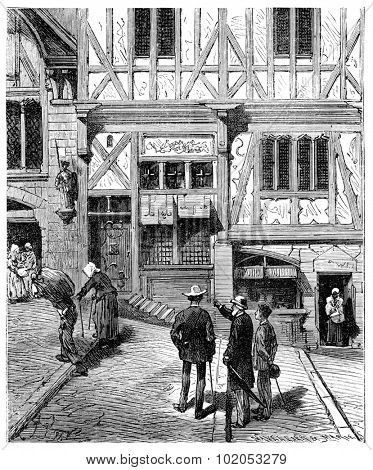 The Tour de France a small Parisian, He stopped in front of several old houses, vintage engraved illustration. Journal des Voyage, Travel Journal, (1880-81).