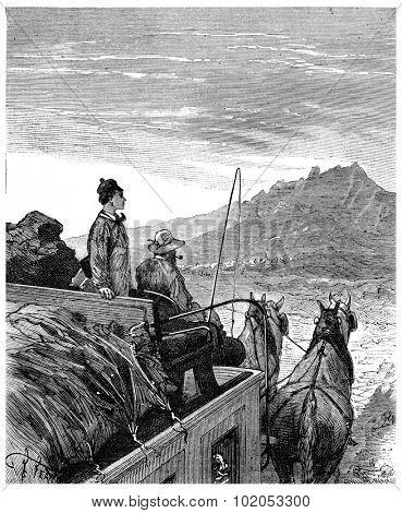 The Tour de France a small Parisian. Vein! I do the Tour de France, vintage engraved illustration. Journal des Voyage, Travel Journal, (1880-81).