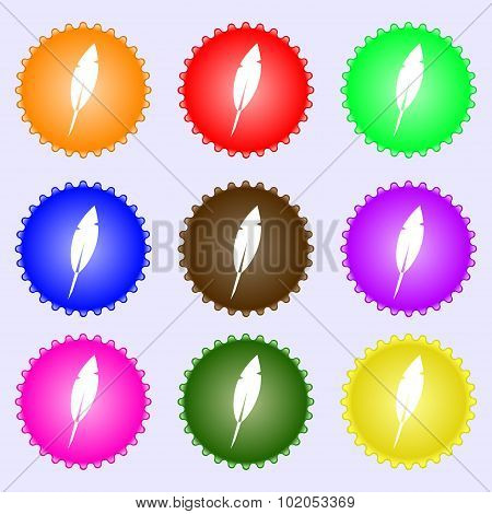 Feather Sign Icon. Retro Pen Symbo. A Set Of Nine Different Colored Labels. Vector