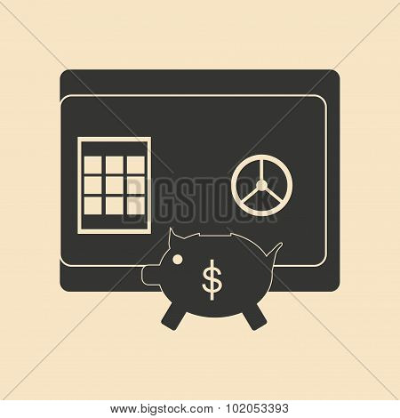 Flat in black and white piggy bank and safe
