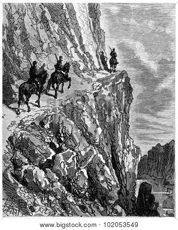 The road over the river from a height of two hundred meters, vintage engraved illustration. Journal des Voyage, Travel Journal, (1880-81).