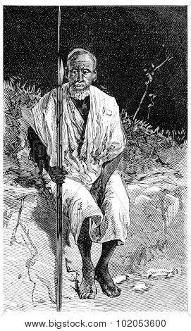 A Somali warrior, vintage engraved illustration. Journal des Voyage, Travel Journal, (1880-81).