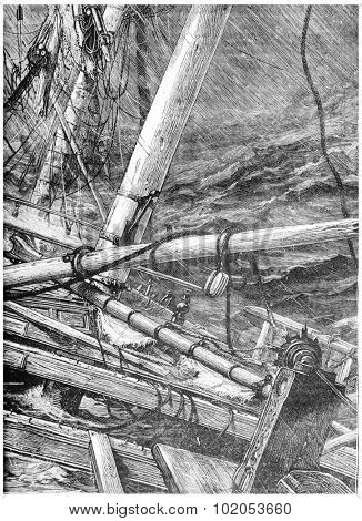 Sinking in the Southern Ocean, Alone on board, vintage engraved illustration. Journal des Voyage, Travel Journal, (1880-81).