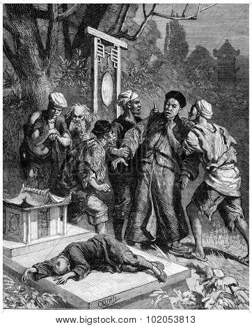 Secret societies in China, The punishment of traitors, vintage engraved illustration. Journal des Voyage, Travel Journal, (1880-81).