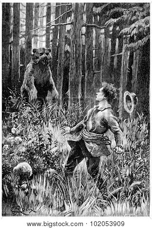 At twenty paces, stood a huge bear, vintage engraved illustration. Jules Verne Cesar Cascabel, 1890.
