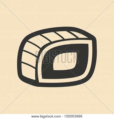 Flat in black and white mobile application sushi roll