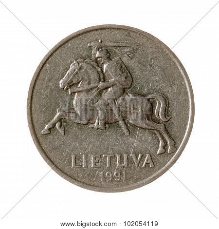 Five Cents Coin Lithuania Isolated On White Background. Top View