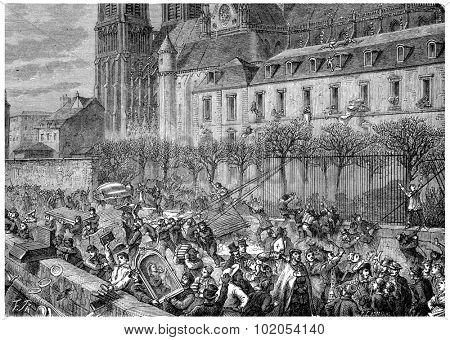 Bag of the Archdiocese, vintage engraved illustration. History of France 1885.