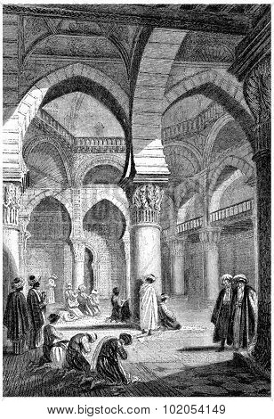 Algiers, Interior of a mosque, vintage engraved illustration. History of France  1885.