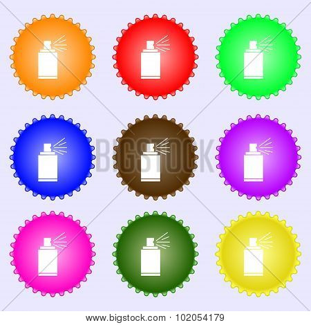 Graffiti Spray Can Sign Icon. Aerosol Paint Symbol. A Set Of Nine Different Colored Labels. Vector