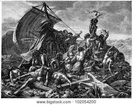 The shipwreck of the Medusa, vintage engraved illustration. History of France 1885.