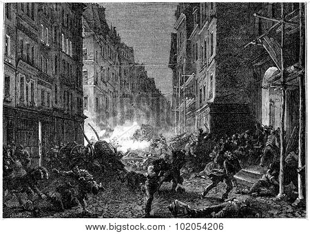 Shootouts in the Rue Saint-Denis, vintage engraved illustration. History of France 1885.