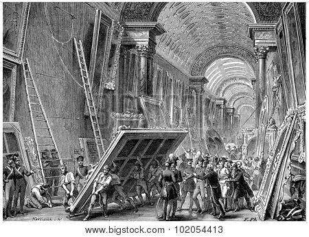 Devastation of the Louvre Museum, vintage engraved illustration. History of France 1885.
