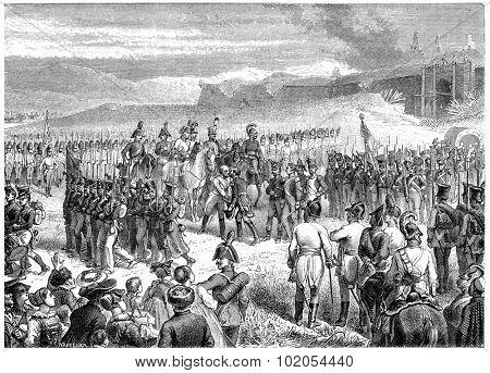 Huningen surrender, vintage engraved illustration. History of France 1885.