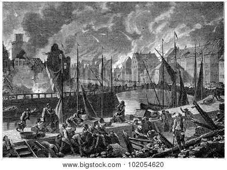 Bombardment of Copenhagen, vintage engraved illustration. History of France  1885.