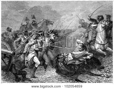 Conscripts of 1813 Combat Weissenfels, vintage engraved illustration. History of France 1885.