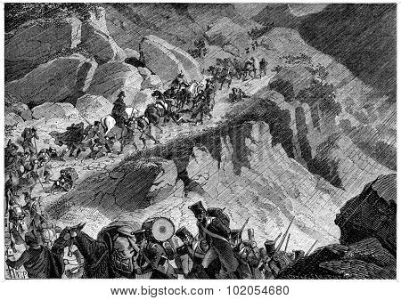 Junot's troops in the mountains of Northern Spain, vintage engraved illustration. History of France 1885.