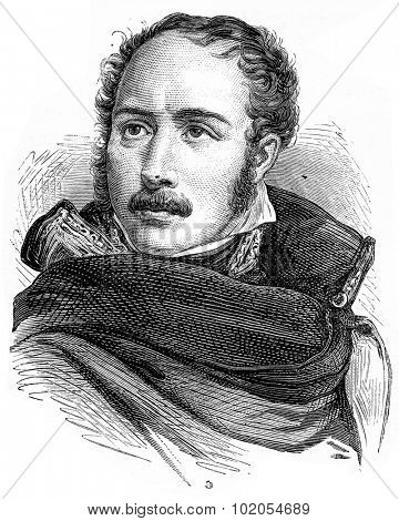 Eugene de Beauharnais, vintage engraved illustration. History of France 1885.