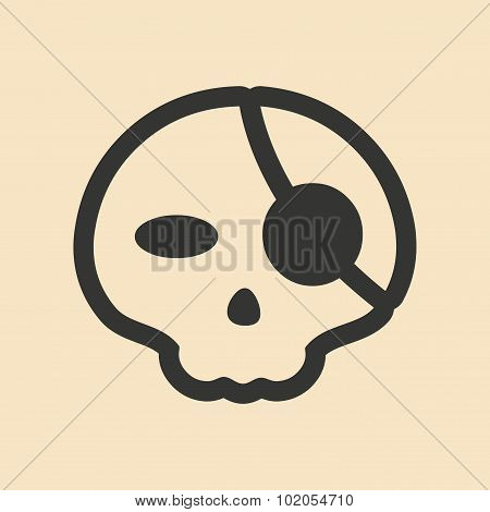 Flat in black and white mobile application pirate skull