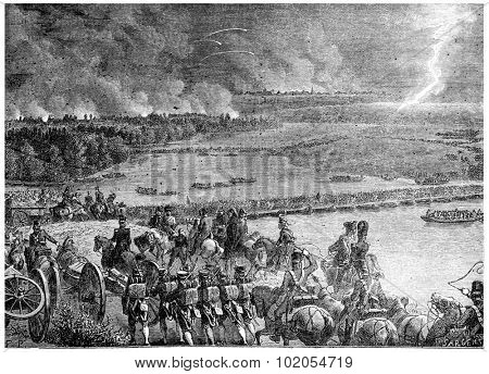 The French army arising out of the island of Lobau, vintage engraved illustration. History of France 1885.