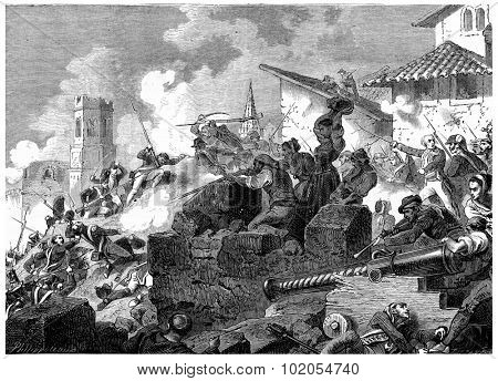 Heroic defense of Girona, vintage engraved illustration. History of France  1885.