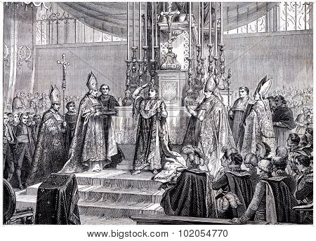 Napoleon raises the iron crown on his head, vintage engraved illustration. History of France 1885.