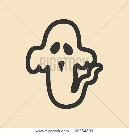 Flat in black and white mobile application ghost