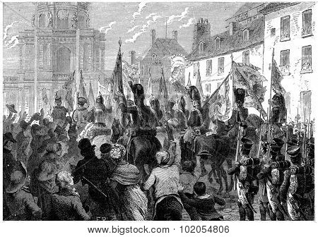 Russian and Austrian flags doors triumphantly in the Senate, vintage engraved illustration. History of France 1885.