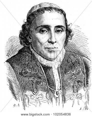 Pius VII, vintage engraved illustration. History of France 1885.