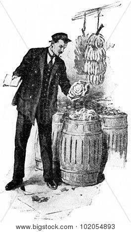 A city food inspector, vintage engraved illustration.