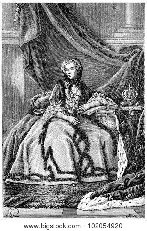Queen Marie Leszczynska, vintage engraved illustration.