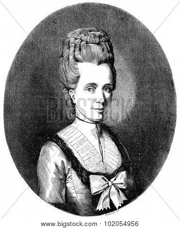 Portrait of Madame Necker, vintage engraved illustration.