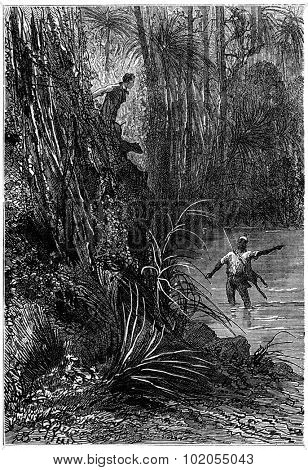 Bushman and his companion, vintage engraved illustration. Jules Verne 3 Russian and 3 English, 1872.