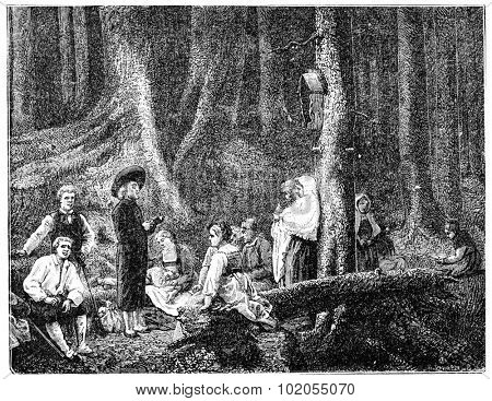 Pilgrims of Saint Odile, after the table of G.Brion, vintage engraved illustration.