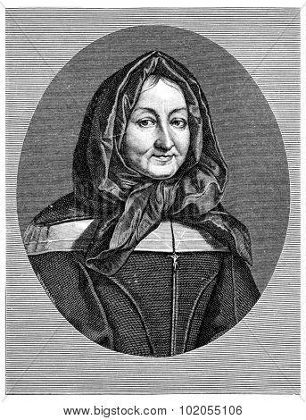 Madame Miramion. Tire of Saint Vincent de Paul, vintage engraved illustration.