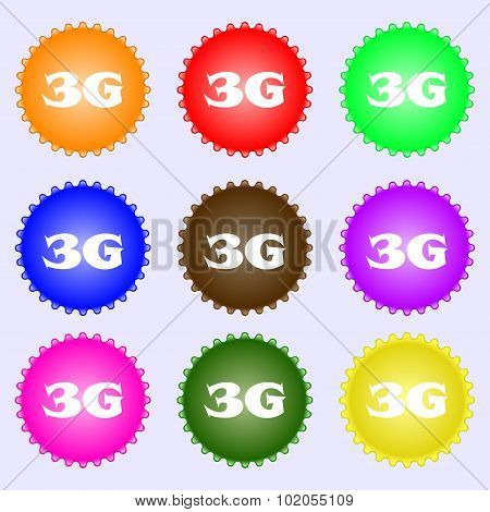 3G Sign Icon. Mobile Telecommunications Technology Symbol. A Set Of Nine Different Colored Labels. V