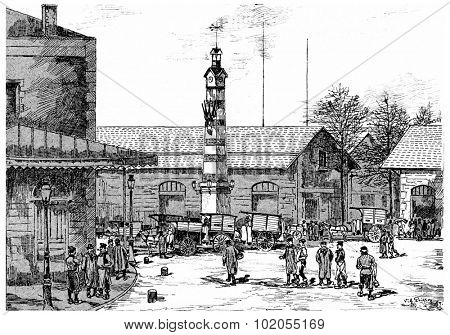 The general abattoirs of la Villette, vintage engraved illustration. Paris - Auguste VITU 1890.