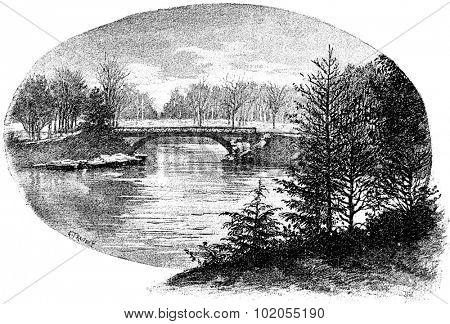 A rustic bridge over the Great Lake Bois de Boulogne, vintage engraved illustration. Paris - Auguste VITU  1890.