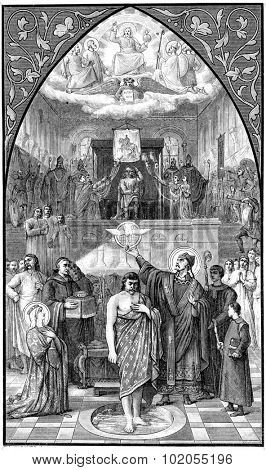 The baptism of Clovis, vintage engraved illustration.