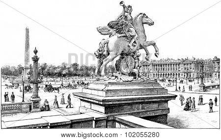 View from the terrace of the west on the Place de la Concorde, vintage engraved illustration. Paris - August 1890.